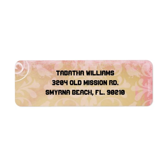 Cute Light Pink Damask Pattern Return Address Labe