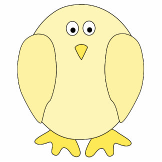 Cute Light Yellow Bird. Cartoon Chick. Photo Cut Out