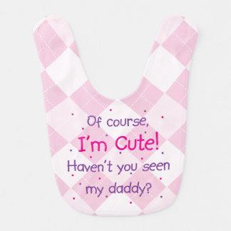 Cute Like Daddy on Light Pink Argyle Bib