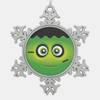 Cute Lil' Frankenstein emoji Happy Halloween Pewter Snowflake Ornament