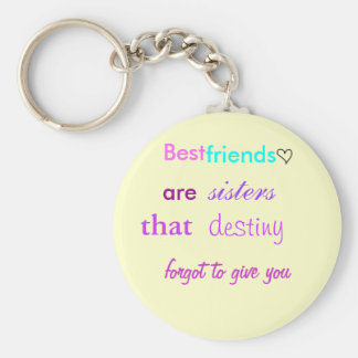 cute lil heart, Best , friends, are , sisters, ... Basic Round Button Keychain