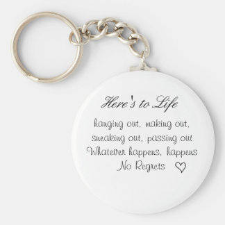 cute lil heart, Here's to Life, hanging out, ma... Keychain