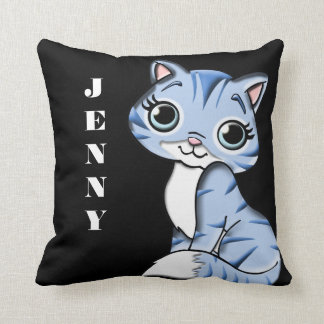 Cute Lil Kitty Reversible Throw Pillow