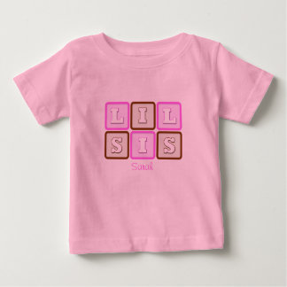 Cute Lil Sis Word Block with Name Baby T-Shirt