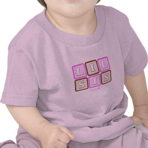 Cute Lil Sis Word Block with Name Tees