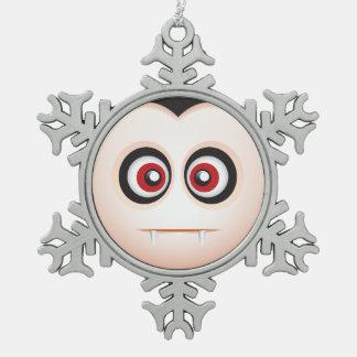 Cute Lil' Vampire Halloween Emoji Snowflake Pewter Christmas Ornament