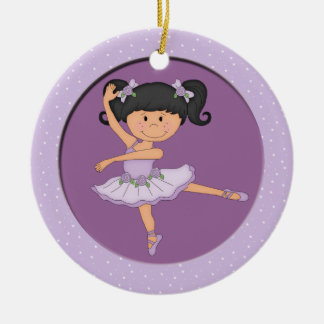 Cute Lilac Ballerina 1 Ballet Star Double-Sided Ceramic Round Christmas Ornament