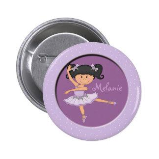 Cute lilac Ballerina 1 Custom Name 2 Inch Round Button