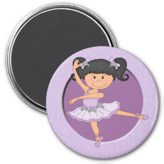 Cute lilac Ballerina 1 Custom Name 3 Inch Round Magnet
