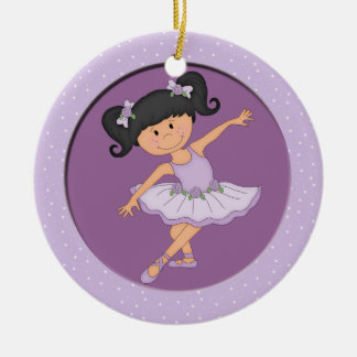 Cute Lilac Ballerina 3 Ballet Star Double-Sided Ceramic Round Christmas Ornament
