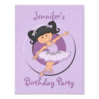 "Cute Lilac Ballerina Birthday Party 4.25"" X 5.5"" Invitation Card"