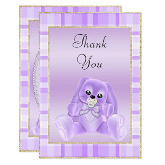 Cute Lilac Bunny  Baby Shower Thank You Card