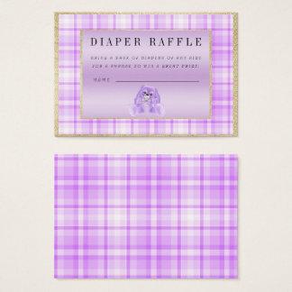 "Cute Lilac Bunny ""Raffle"" Baby Shower Business Card"