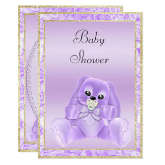 Cute Lilac Floppy Ears Bunny Baby Shower Card