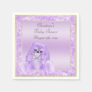 Cute Lilac Floppy Ears Bunny Baby Shower Napkin