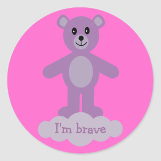 Cute Lilac Teddy Bear I m Brave Pink Stickers