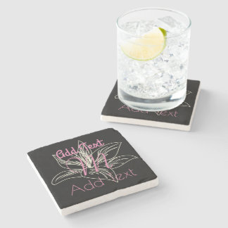 Cute Lily Flower Wedding Birthday Monogrammed Stone Coaster