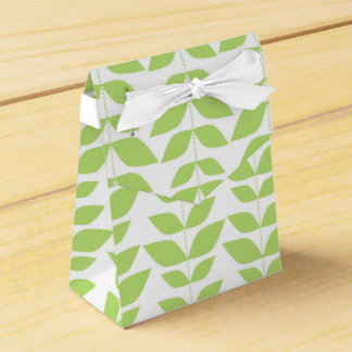 Cute Lime Green and White Leaf Pattern Favor Boxes