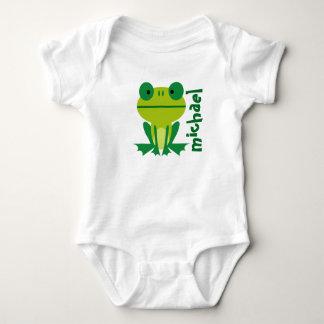 Cute Lime Green Cartoon Frog Baby Bodysuit