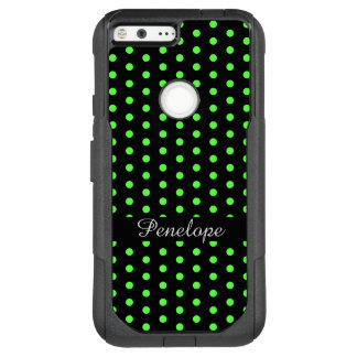Cute Lime Green Dots Pattern Add your name OtterBox Commuter Google Pixel XL Case