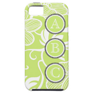 Cute Lime Green Personalized Floral Patterned iPhone 5 Cover