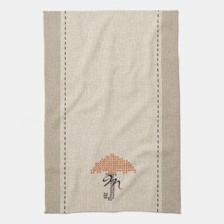Cute Linen Look Monogrammed Umbrella Towel