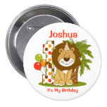 Cute Lion 1st Birthday 3 Inch Round Button