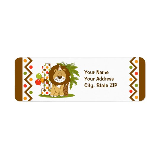 Cute Lion 1st Birthday Return Address Label