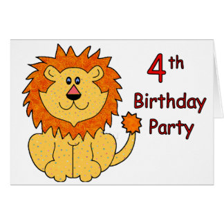 Cute Lion 4th Birthday Card