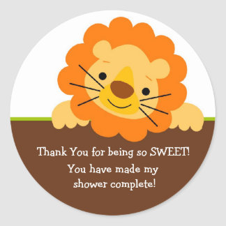 Cute Lion Baby Shower Sticker