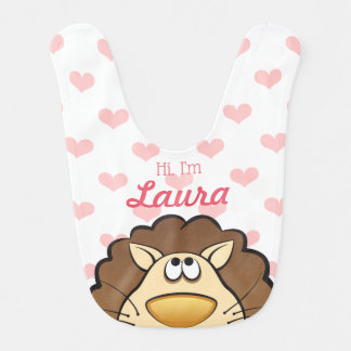 Cute Lion Bib with Baby's name, Custom Color heart