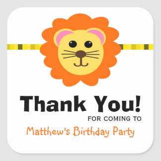 Cute Lion Birthday Party Favor Label Stickers