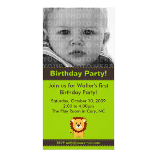 Cute Lion Birthday Party Photo Card