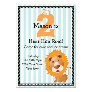 """Cute Lion Boy's Birthday 5"""" X 7"""" Invitation Card"""