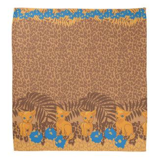 Cute lion cartoon and flowers leopard pattern bandanas