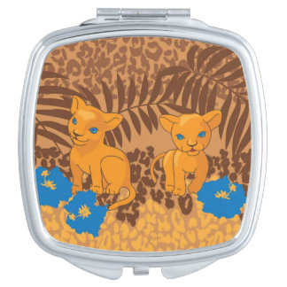 Cute lion cartoon and flowers leopard pattern compact mirror