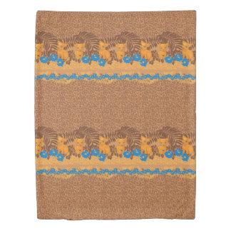 Cute lion cartoon and flowers leopard pattern duvet cover