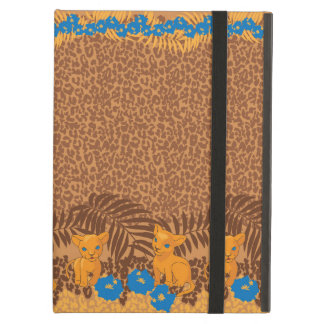 Cute lion cartoon and flowers leopard pattern iPad air cases