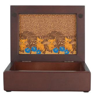 Cute lion cartoon and flowers leopard pattern keepsake boxes