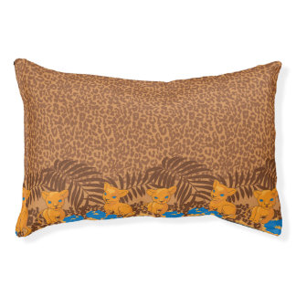 Cute lion cartoon and flowers leopard pattern small dog bed