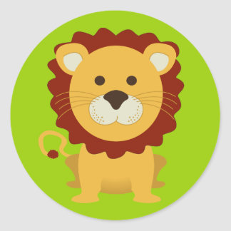 Cute Lion Classic Round Sticker