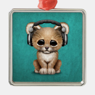 Cute Lion Cub Dj Wearing Headphones on Blue Silver-Colored Square Ornament