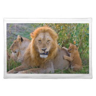 Cute Lion Cub Playing With Dad, Kenya Placemat