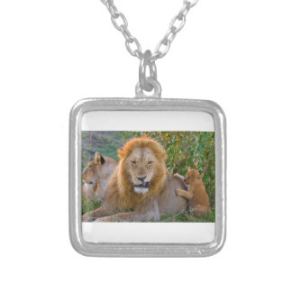 Cute Lion Cub Playing With Dad, Kenya Silver Plated Necklace