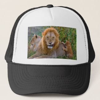 Cute Lion Cub Playing With Dad, Kenya Trucker Hat
