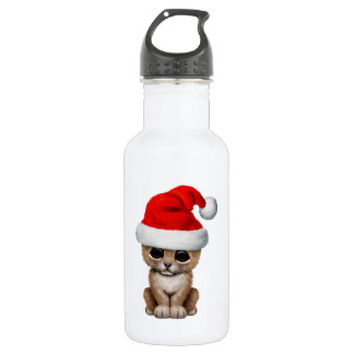 Cute Lion Cub Wearing a Santa Hat 532 Ml Water Bottle