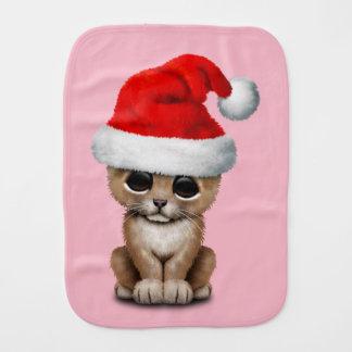 Cute Lion Cub Wearing a Santa Hat Burp Cloth