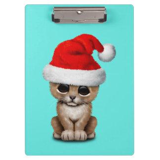 Cute Lion Cub Wearing a Santa Hat Clipboard