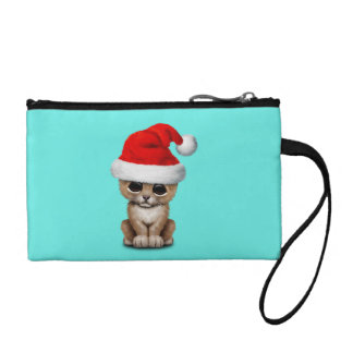 Cute Lion Cub Wearing a Santa Hat Coin Purse