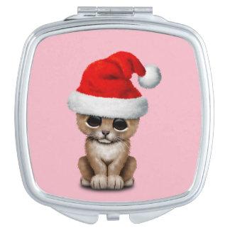 Cute Lion Cub Wearing a Santa Hat Compact Mirror
